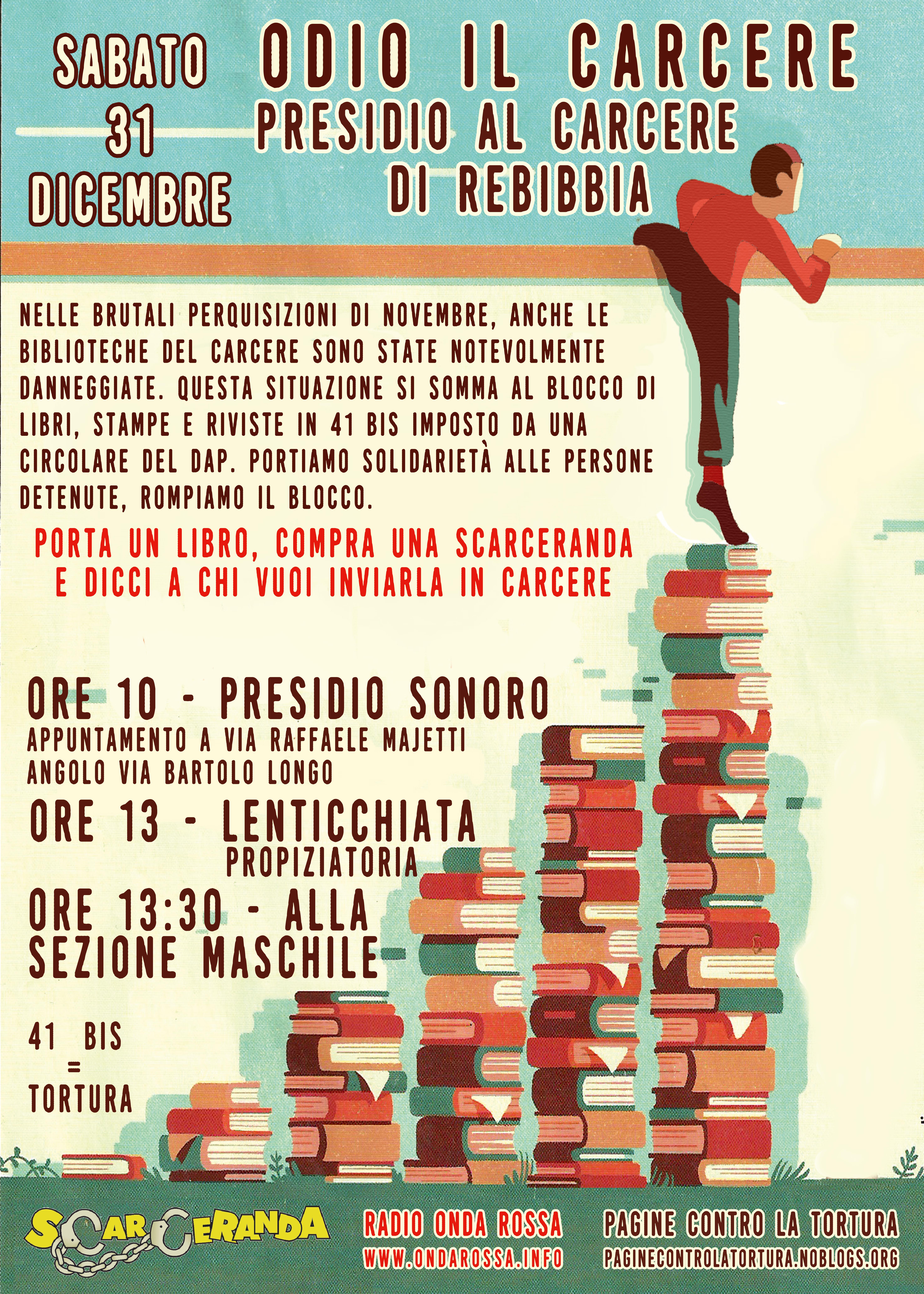 Roma: presidio al carcere di Rebibbia 31 dicembre 2016