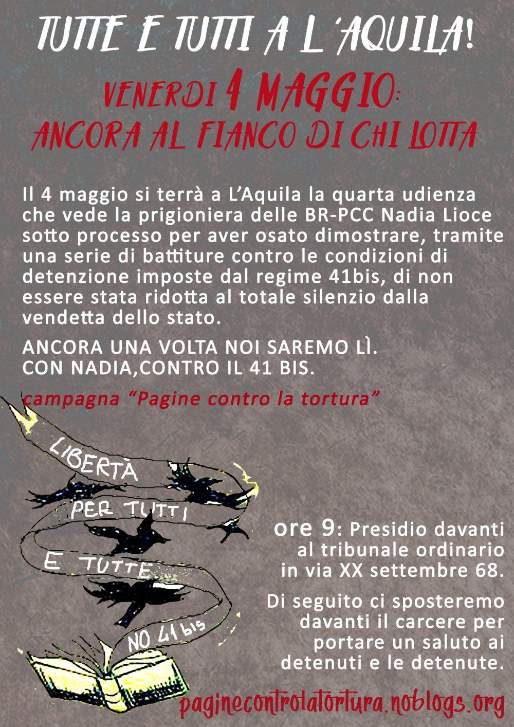 L'Aquila 4 maggio 2018, ancora al fianco di chi lotta. Presidio solidale al tribunale e al carcere