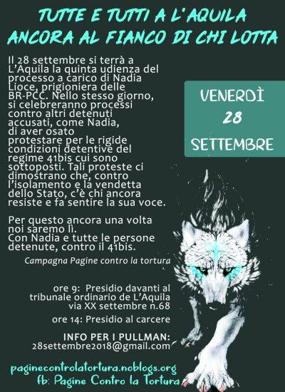 L'Aquila 28 settembre 2018 presidio al Tribunale e al carcere: 41bis=tortura