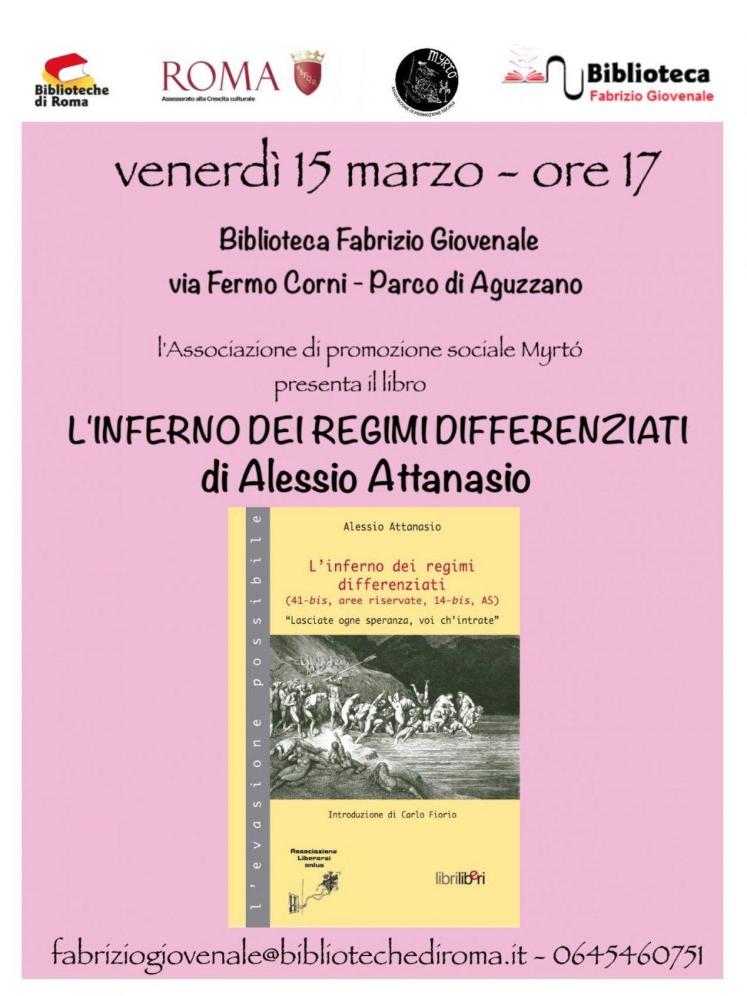 Roma 15 marzo 2019 c/o Biblioteca Fabrizio Giovenale ore 17,00