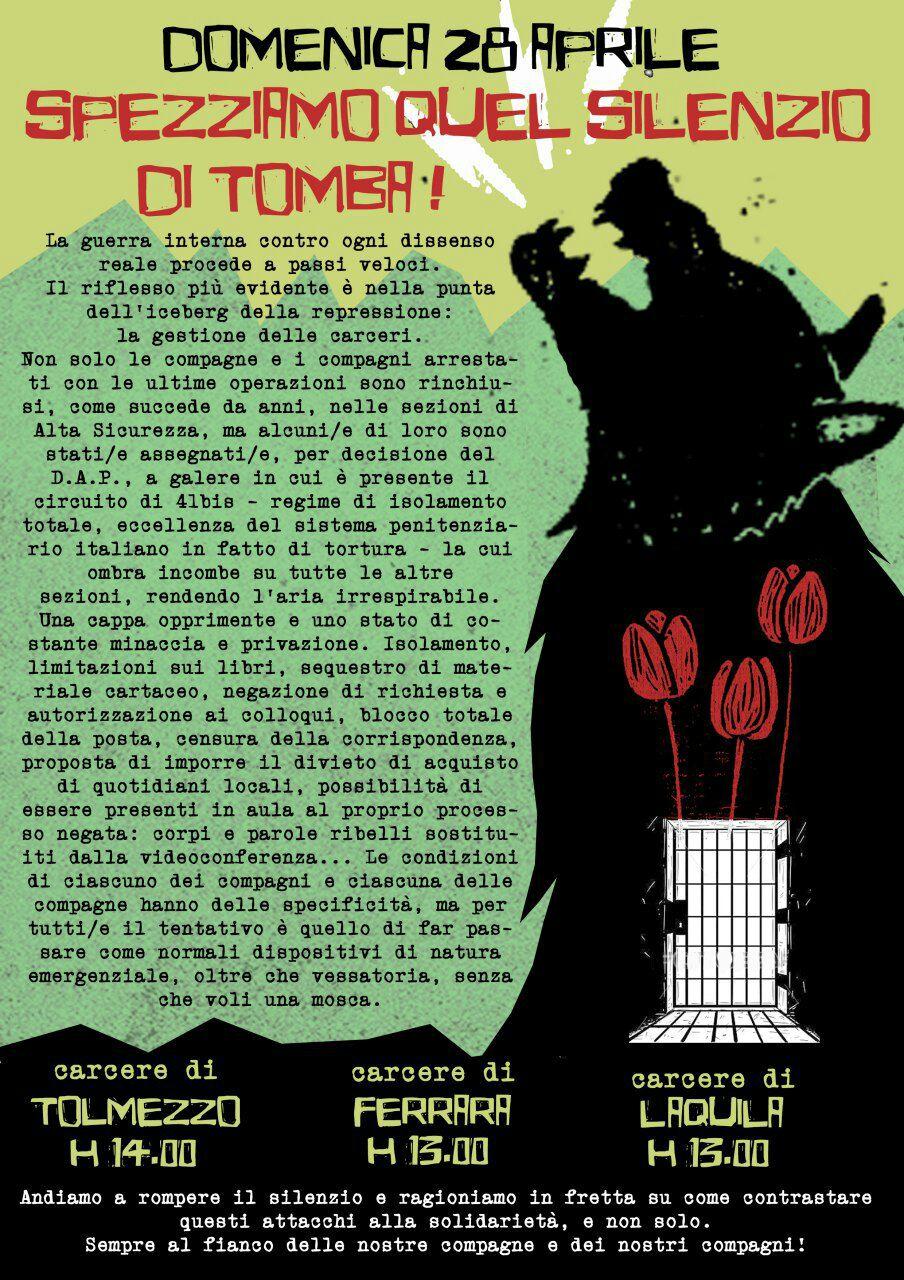 28 aprile 2019 L'Aquila h13 Tolmezzo h14 Ferrara h13: contributo ai presidi alle carceri