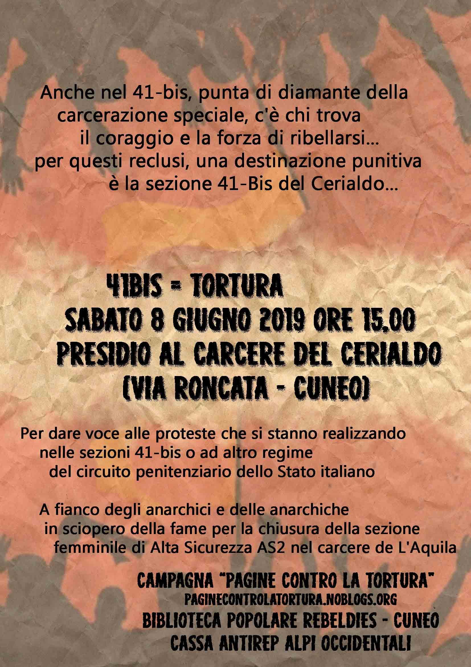 Cuneo: 8 giugno 2019 h. 15,00 presidio al carcere del Cerialdo